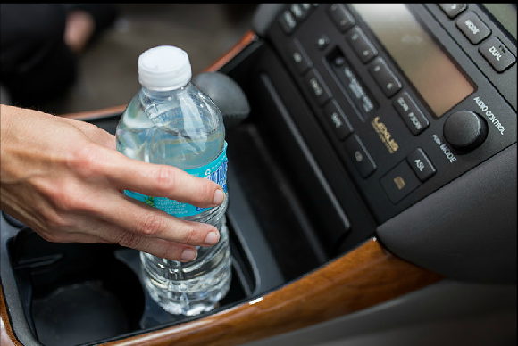 bottled water in car